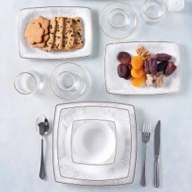 Neva - Mentol Hare 60 Parça Kare Yemek Takımı