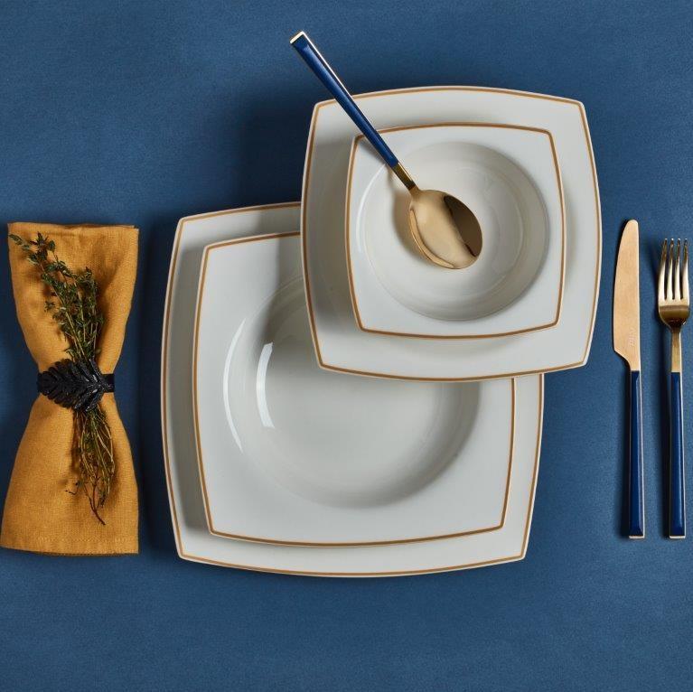 Detay 24 Parça Kare Yemek Takımı