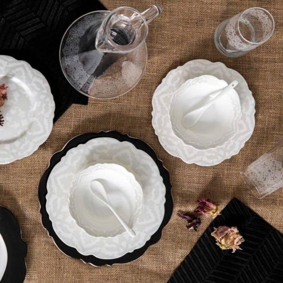 Bitter Aşikar 60 Parça Romantik Siyah Yemek Takımı