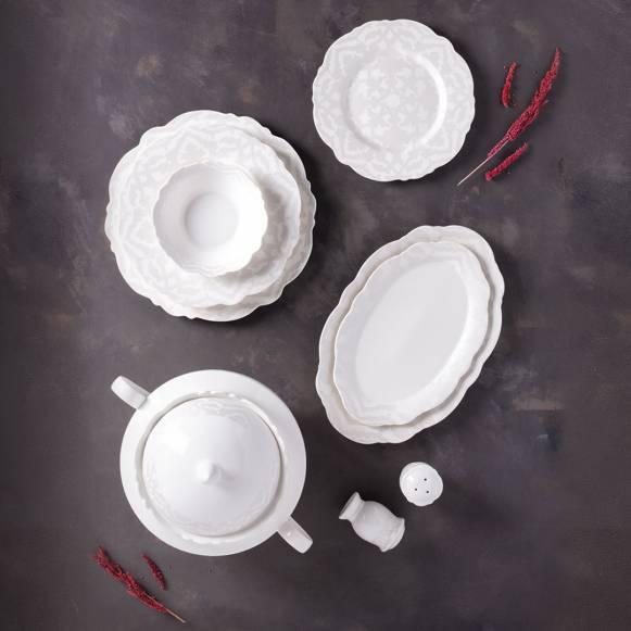Bitter Aşikar 60 Parça Romantik Beyaz Yemek Takımı