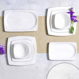 Neva - Lilyum 60 Parça Kare Yemek Takımı