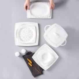 Neva - Bitter Aşikar Fine Bone 60 Parça Beyaz Kare Yemek Takımı