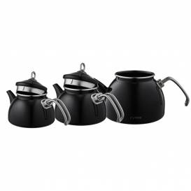 Siyah Emaye 3 Katlı Çaydanlık Takımı - Thumbnail