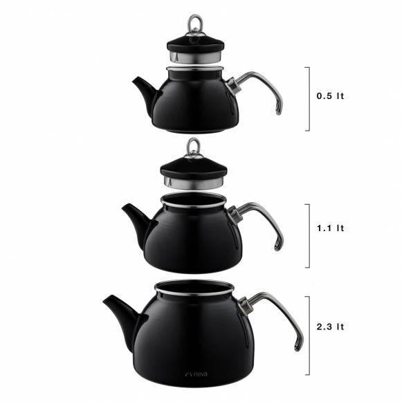 Siyah Emaye 3 Katlı Çaydanlık Takımı