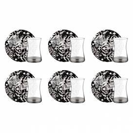 Neva - Samyeli Siyah 6 Kişilik Çay Bardak Seti