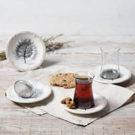 Neva - Güz Gri 6 Kişilik Çay Bardak Seti
