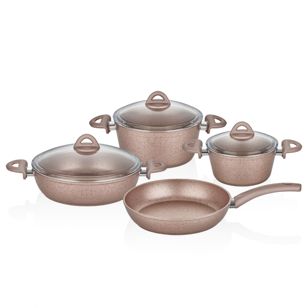 Neva - Rose Chocolate Mercek 7 Parça Granit Set